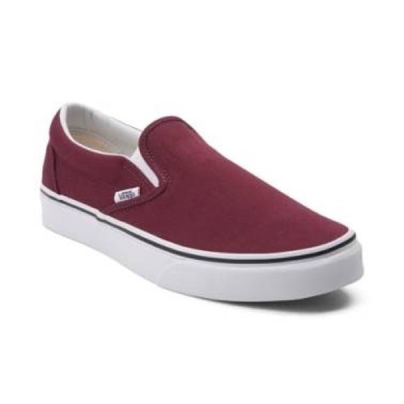 Burgundy Vans Slip On Skate Shoe